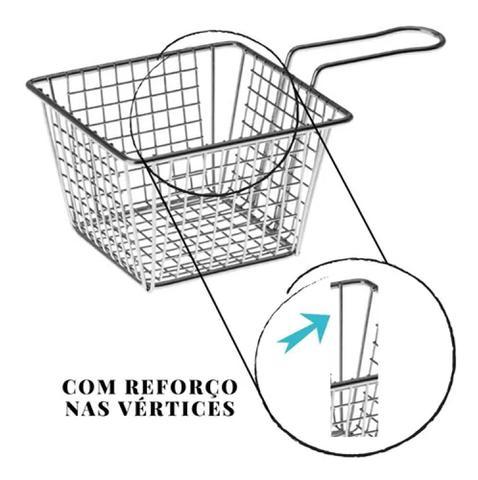 Imagem de Cesta Quadrada Aramada Cromada Para Petiscos Batata Frita