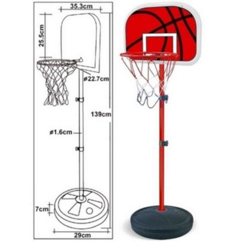 Imagem de Cesta Tabela de Basquete com Pedestal Ajustável (105-139 cm)