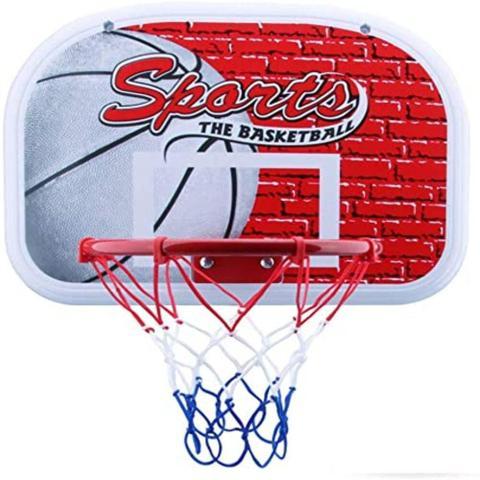 Imagem de Cesta tabela de basquete infantil retratil com aro mini com rede para porta parede