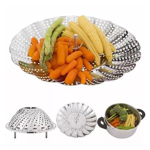 Imagem de Cesto Cozimento a Vapor Inox Cozinha Legumes na Panela