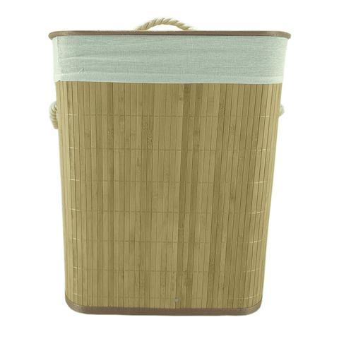 Imagem de Cesto De Roupa Em Bambu Retangular Cor Palha 50x40x30cm