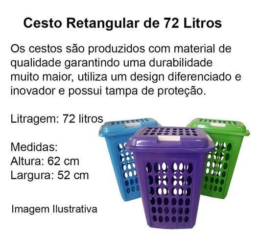 Imagem de Cesto De Roupa Suja Com Tampa 72 Lts Retangular Resistente  - BRANCO