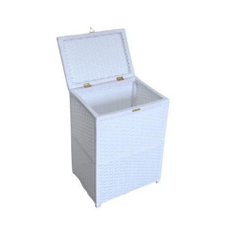Imagem de Cesto de Roupa Suja De Fibra Sintética Branco 38x28x57 51 Litros
