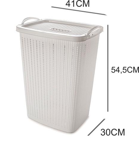 Imagem de Cesto de Roupas com Tampa Plástico 40 litros branco  Plasutil