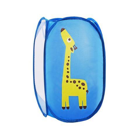 Imagem de Cesto multiuso organizador dobrável médio infantil criança com alça girafa jacki design azul