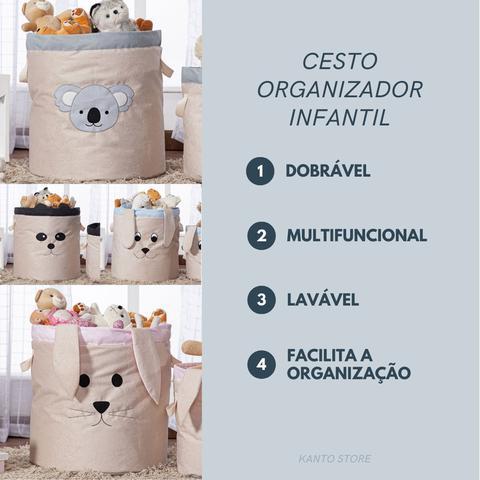 Imagem de Cesto Organizador de Brinquedos e Roupas Sujas Grande Coelho com Alças
