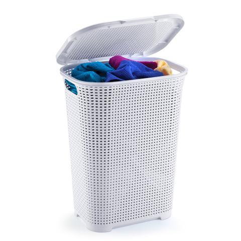 Imagem de Cesto para roupas com tampa e alça rattan branco 30 lts