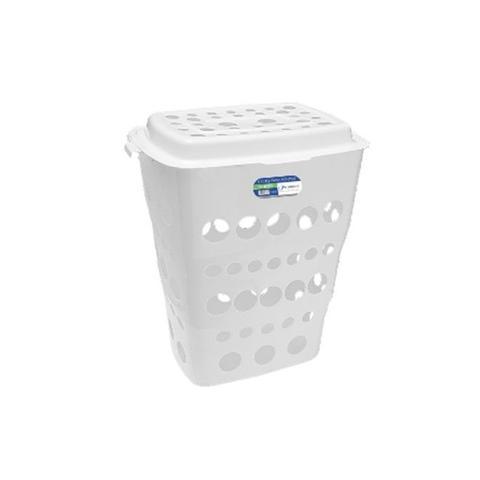 Imagem de Cesto para roupas com tampa grande organizador de banheiro e lavanderia 55 litros