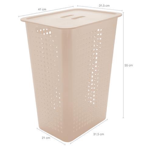 Imagem de Cesto Para Roupas Organizador Lavanderia 47 Litros Plástico Bege