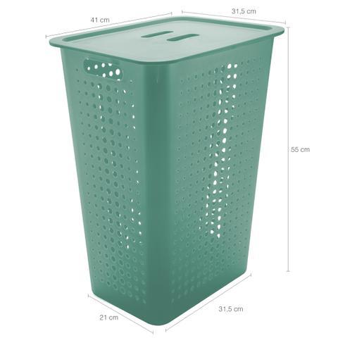 Imagem de Cesto Para Roupas Organizador Lavanderia 47 Litros Plástico Verde Menta