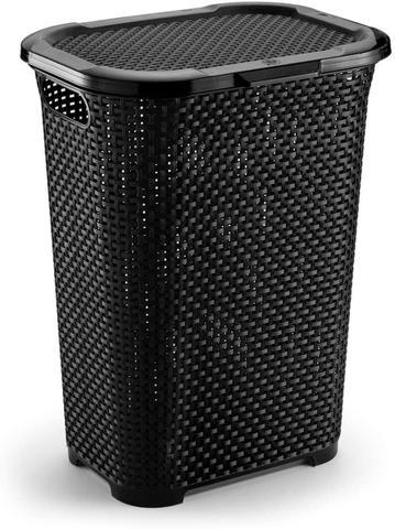 Imagem de Cesto para Roupas Rattan em Plástico Preto 30L 38x29,5x50cm - Monte Líbano