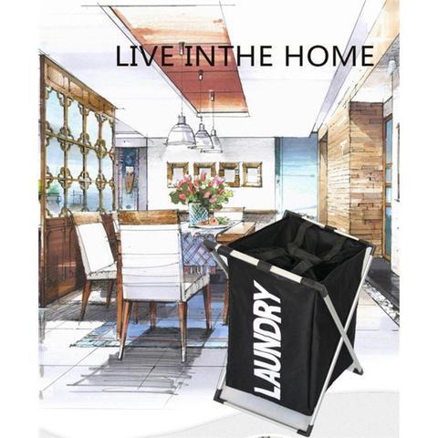 Imagem de Cesto para roupas suja para quarto lavanderia banheiro com laca desmontavel luxo preto