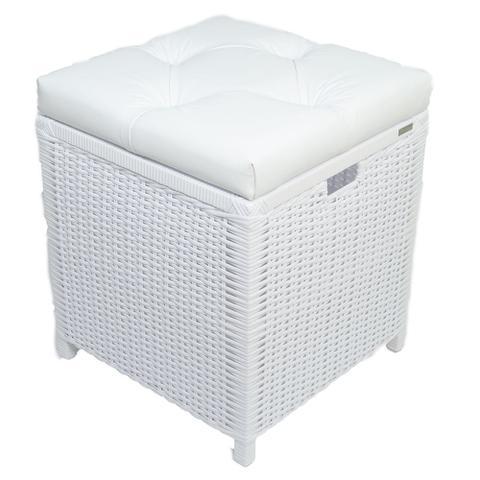 Imagem de Cesto Puff Baú Organizador Roupa fibra sintetica 40x40x48 - Branco