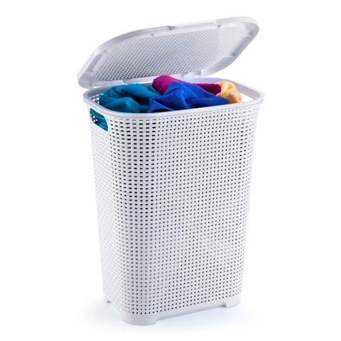 Imagem de Cesto rattan para roupas 30 litros com tampa branco monte libano