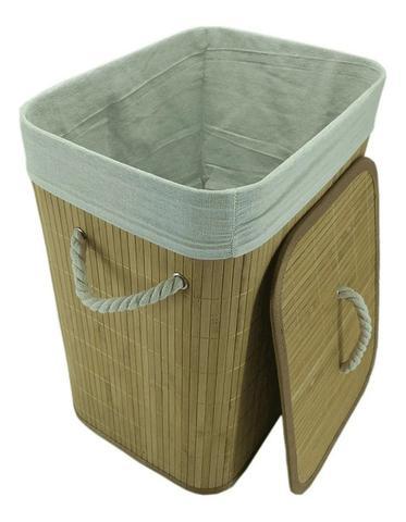 Imagem de Cesto Roupa Suja Bambu etangular com tampa dobravel Jolitex