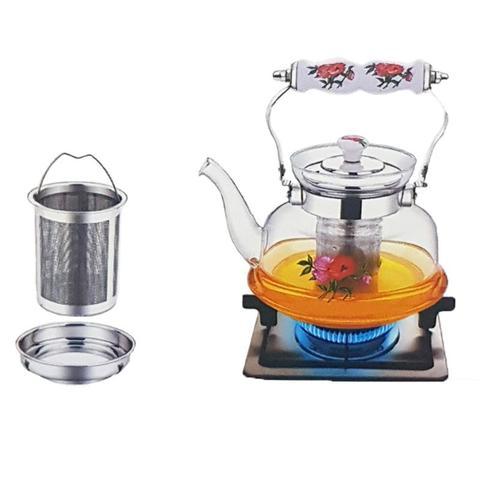 Imagem de Chaleira com infusor de chá 1litro vidro inox bule chá detox