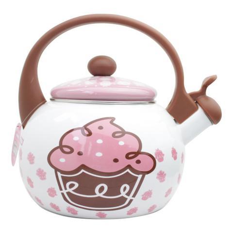 Imagem de Chaleira Cupcake Decor e Casa em Aço Esmaltado Com Apito 2,20 Litros