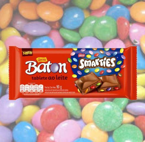 Imagem de Chocolate ao Leite Smarties Garoto Baton 90g