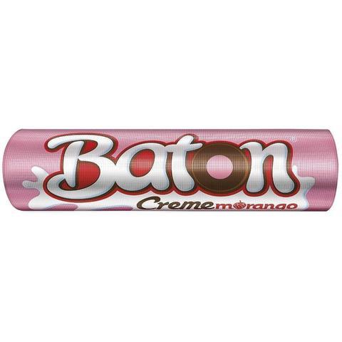 Imagem de Chocolate Baton Recheado Morango Creme 16g - 30 unidades - Garoto