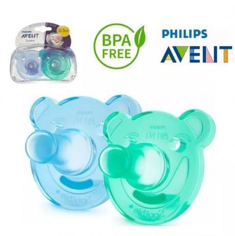 Imagem de Chupeta Calmante Soothie (0-3m) Verde E Azul - Philips Avent