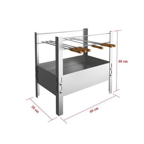 Imagem de Churrasqueira Desmontável Aço Galvanizado com 6 Espetos 60x38x60 cm Qualinox