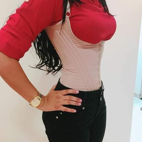Imagem de Cinta Modeladora Feminina Alça Com 12 Barbatanas Ajusta Postura cores preta e bege