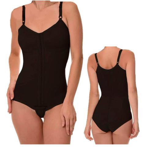 Imagem de Cinta Modeladora Pos Cirurgia Plastica Body com Alça e Colchetes Ajustável Preto New Form