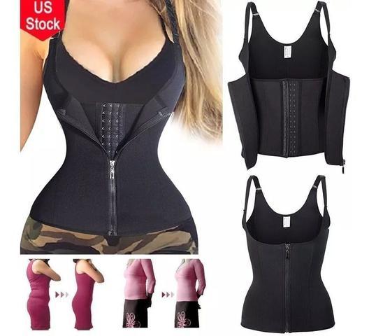 Imagem de Cinta modeladora , redutora , ajustável , colete com zíper e alças com diversos tamanhos