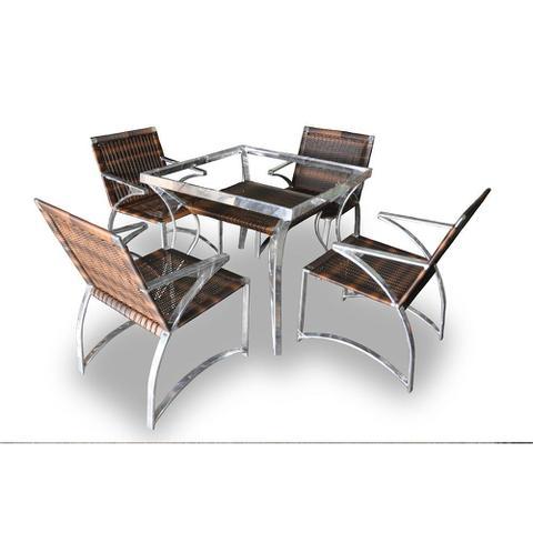 Imagem de Cjt de sofás em fibra sintética Melon - 4 cadeiras + 1 Mesa.  Moveis para varanda