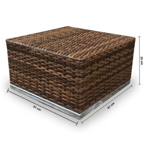 Imagem de Cjt de sofás em fibra sintética Quadrado Alumínio- 1 Sofá 2L + 2 Poltronas + 1 Mesa de Centro.  Moveis para varanda