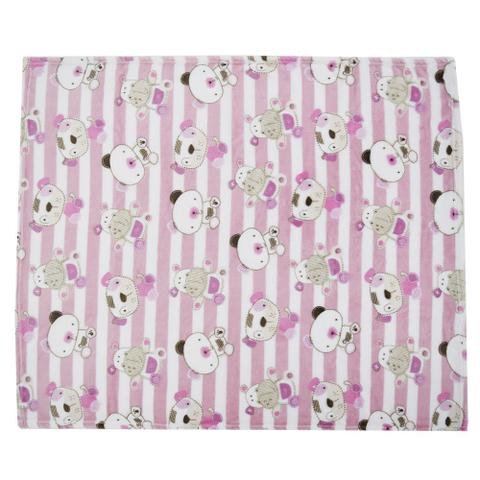 Imagem de Cobertor Baby Flannel Menina 300g/m² - Listrado - Camesa
