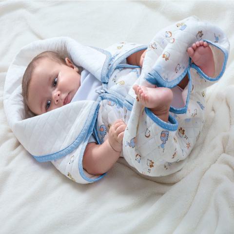 Imagem de Cobertor Baby Sac Jolitex Saco de Dormir Bebê Berço Algodão Azul