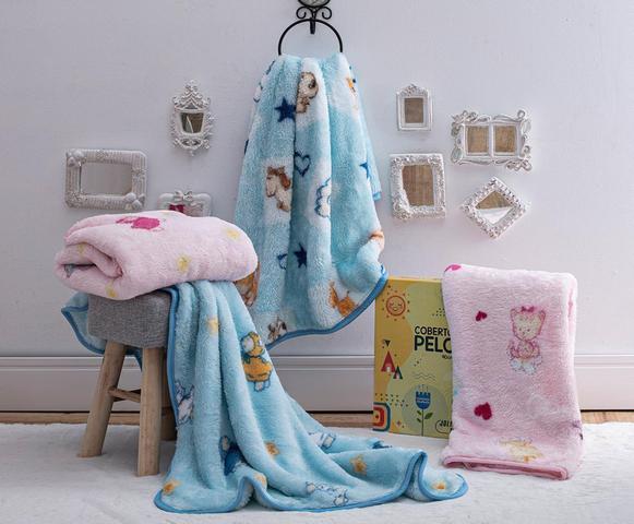 Imagem de Cobertor Bebê Infantil Jolitex Pelo Alto Ovelhinhas Rosa