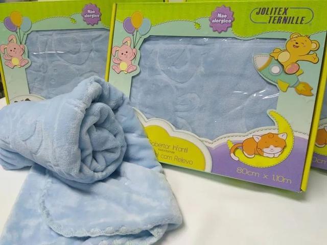 Imagem de Cobertor Bebê Infantil Touch Texture Raschel C/ Relevo Jolitex Azul