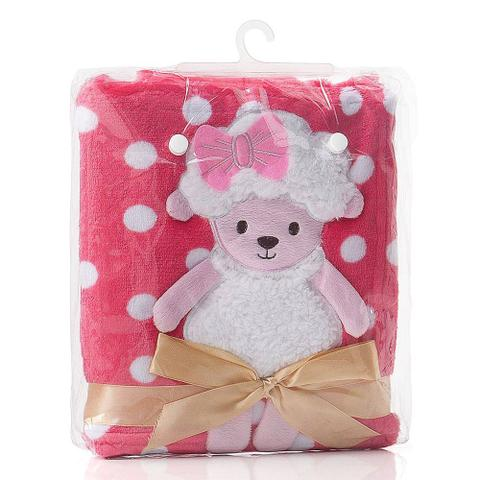 Imagem de Cobertor bebê pink poá ovelinha