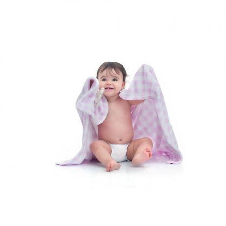 Imagem de Cobertor bebe rosa xadrez ursinha loaní