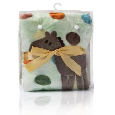 Imagem de Cobertor bebê verde poá cavalinho
