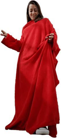Imagem de Cobertor c/ Mangas Vermelho Liso 1,60 X 1,30m