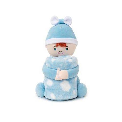 Imagem de Cobertor Com pelúcia Microfibra Boneco Franjinha Azul Loaní