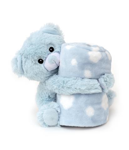 Imagem de Cobertor e bichinho de pelúcia- ursinho azul