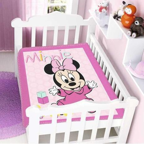 Imagem de Cobertor Infantil Disney Baby Raschel Minnie Rosa 0,90x1,10