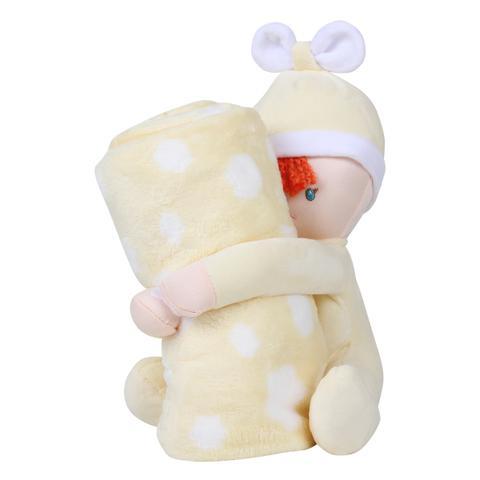 Imagem de Cobertor Loani Presentes Menino Com Bichinho Pelúcia Boneco Amarelo 22356