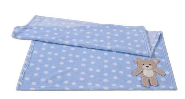 Imagem de Cobertor Manta Bebê Poá Ursinho Azul