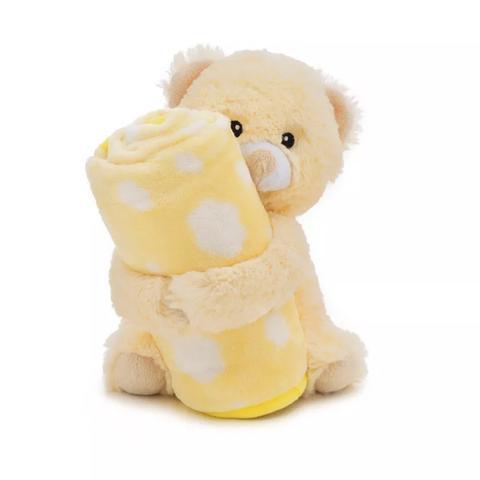 Imagem de Cobertor mantinha microfibra com ursinho pelucia amarelo