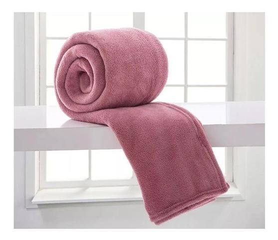Imagem de Cobertor Texfine Home Design Manta Microfibra Casal Rosa Antigo Liso