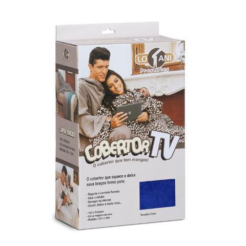 Imagem de Cobertor Tv Com Mangas Solteiro 1.60x1.30m Azul - Loani