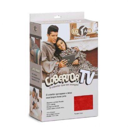 Imagem de Cobertor Tv Com Mangas Solteiro 1.60x1.30m Vermelho - Loani