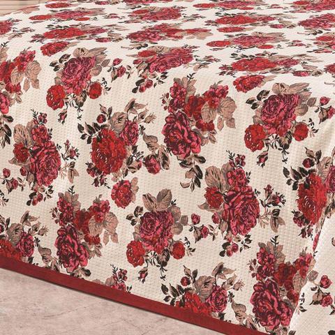 Imagem de Cobre Leito Casal Queen Arezzo 03 Peças Tecido Piquet - Vermelho Cor 1