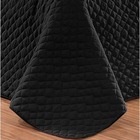 Imagem de Cobre Leito Casal Queen Pati 03 Peças Liso Tecido Microfibra Dupla face - Preto/Cinza