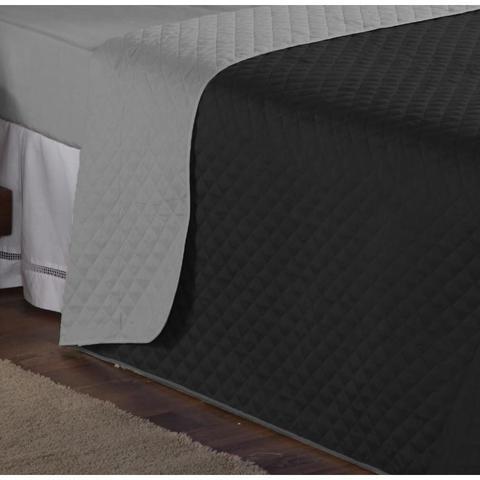 Imagem de Cobre Leito Solteiro Lauri 03 Peças Liso Tecido Microfibra com Lençol de Baixo - Preto/Cinza